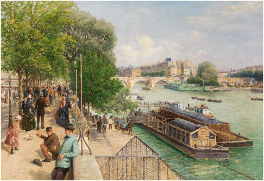 THEODOR VON HÖRMANN (Imst/Tirol 1840-1895 Graz) - Ein sonniger Nachmittag am Quai du Louvre in Paris, Öl/Lwd., 90 × 125,6 cm, signiert, um 1888 Schätzpreis: 300.000-400.000 EUR